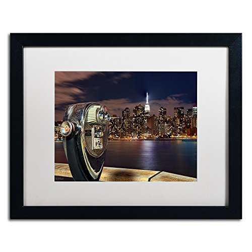 Trademark Fine Art Midtown Over The East River Iii Artwork By David Ayash, 16 By 20-Inch, Matte White/Black Frame