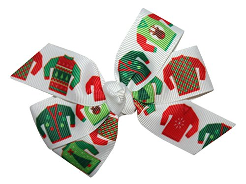 WD2U Girls Ugly Christmas Sweater Party GrosGrain Hair Bow Alligator Clip