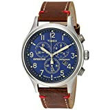 Timex Men's Expedition Scout Chrono Blue/Brown Leather Strap Watch