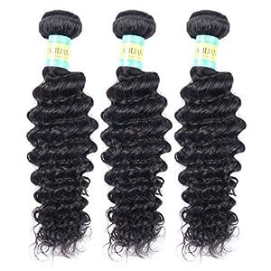 BELLABH 6A 2 Bundles Mixed Deep Curly Brazilian Virgin Human Hair Extensions Perm Curl Natural Natural Color
