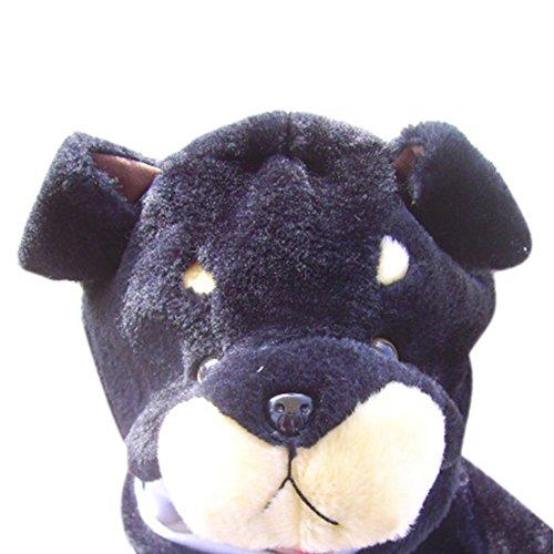 TopTie Weichtier Hut mit Ohrenklappen, Pelztier Hood Cap - Black Dog