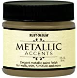 Rust-Oleum Metallic Accents 255290 Decorative 2-Ounce Trail Size Water Based One Part Metallic Finish Paint, Soft Gold