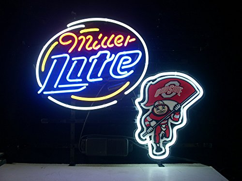 "New Ohio State Buckeyes Brutus Miller Lite Neon Light Sign Home Beer Bar Pub Recreation Room Game Room Windows Garage Wall Sign 17w""x 14""h"