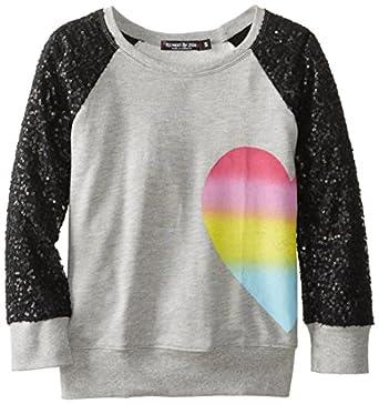 Flowers by Zoe Big Girls' Sequin Heart Sweatshirt, Gray, Small