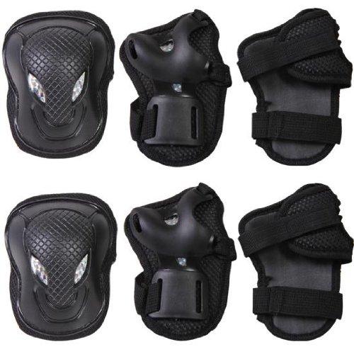 Fitness Gear black wrist elbow knee pads set cycling inroller skates pad set adult