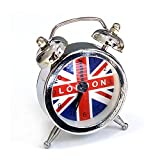 """Union Jack Miniature Alarm Clocks 2"""" Small Size Travel Or Gift Item 6 Colours (Silver)"""
