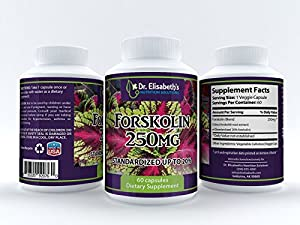 Premium Maximum Strength Forskolin - 250mg of Coleus Forskohlii Root Standardized to 20% Forskolin, Provides 50mg Pure Forskolin Per Serving - Herbal Weight Loss Supplement For Weight Loss and Fat Burning. May Lower Blood Pressure, Improve Breathing, and Normalize Thyroid Function. 60 Days Supply *100% MONEY BACK GUARANTEE*