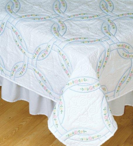 Jack Dempsey Needle Art 73220 Interlocking Wedding Rings Quilt Blocks, 6 Quilt Blocks, 18-Inch-by-18-Inch, White