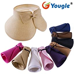 Yougle ® Fashion Girl Lady Beach Sun Visor Foldable Roll up Wide Brim Straw Hat Cap (Black C10)