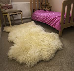 Ivory White XXL British Genuine Natural Sheepskin Fur Rug + Free Leather Heritage Cotton Bag by Leather Heritage