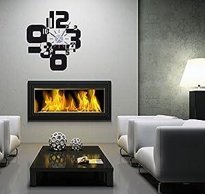 Graz design orologio adesivo da parete moderno nero for Horloge design pour salon