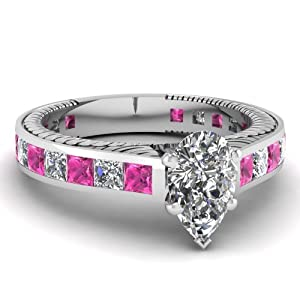 Fascinating Diamonds 2.25 Ct Pear Shaped Diamond & Princess Pink Sapphire Vintage Engagement Ring GIA