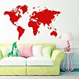 FamilyMall(TM) Large Removable World Map 112 x 60cm Vinyl Wall Stickers for Home Office Room Hall Way