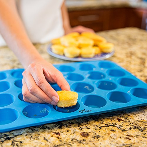 KPKitchen-Muffin-Cupcake-Silicone-Baking-Pan-Set-12-24-Mini-Cup-Sizes-BPA-Free-Non-Stick-Dishwasher-Safe-Bakeware-Trays-Blue-Home-Kitchen-Rubber-Tin-Free-Cupcakes-Muffins-Recipes-eBook