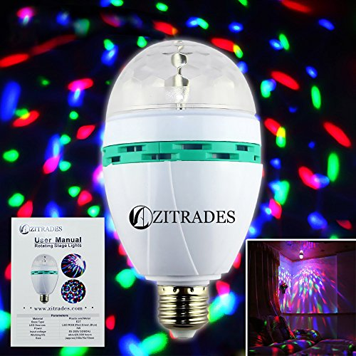 Zitrades Disco Dj Lighting 3W E27 Led Crystal Ball Rotating Full Color Light Voice Sound Activated