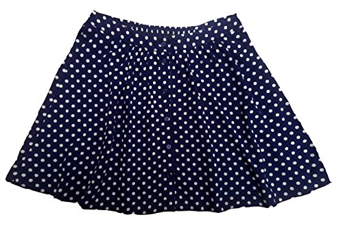 Womens Girls Navy Blue and White Polka Dot Short Mini Flared Skater Skirt (18)