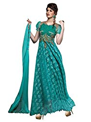 Blissta Rama Net Long Partywear Gown Dress Material