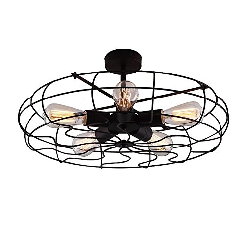 Industrial Vintage Semi Flush Mount Ceiling Light - LITFAD 21