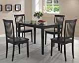 Coaster 5-Piece Dining Set, Cappuccino Wood Table Top with 4 Chairs