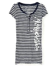 Aeropostale Womens Stripes Henley Shirt 102 S