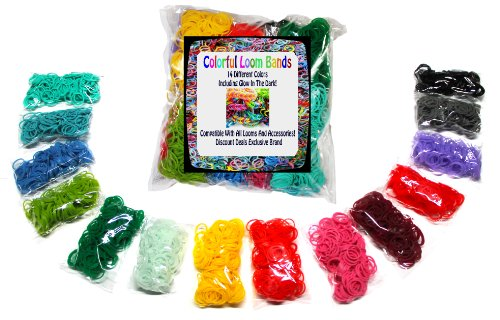 Rainbow Colorful Loom Rubber Bands Includes Over 3000 Rainbow Rubber Bands 14 Colors and 100 C Clips