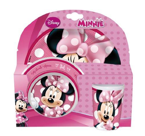Disney 736590 - Minnie Set 3 Pezzi in Melamina in Confezione Regalo, 27x7x28 cm