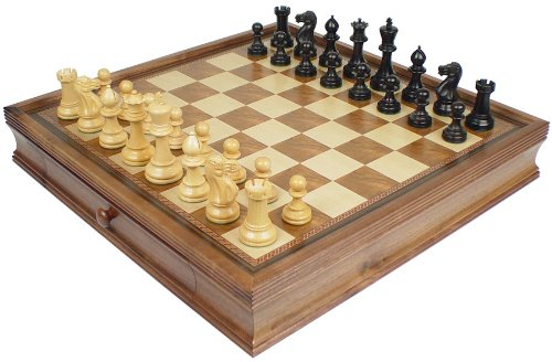 Parker Staunton Chess Set in Ebonized Boxwood with Walnut Chess Case with Drawers - 3.75