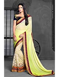AG Lifestyle Light Green & Beige Chiffon Saree With Unstitched Blouse ASL607