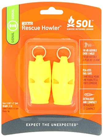 Adventure Medical Kits Sol Rescue Howler Whistles (2) , 2 - Ounce