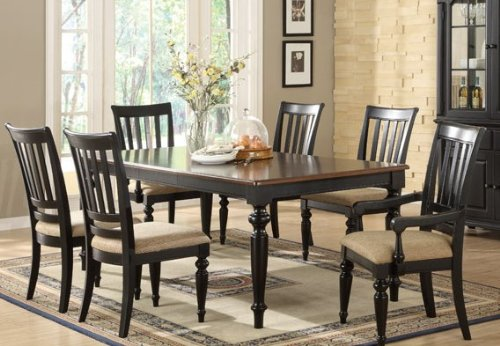 Buy Low Price Poundex 5pc Vintage Style Black Finish Oval Dining Table