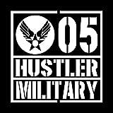 ミリタリー HUSTLER ハスラー カッティング ステッカー ホワイト 白