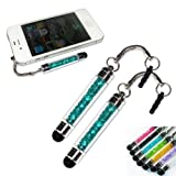 2xNo1accessory new peacock blue crystal shaft stylus pen for Samsung Galaxy s 2 SII GT i9100 Genio 2 GT S3850 Tocco icon GT S5260 Galaxy fit S5670 Wave 2 GTS8530 Galaxy mini GT S5570 Ace GT S5830 Nexus S sclCD GT i9023 omnia W i8350 wave 723 GT S7230 GIO