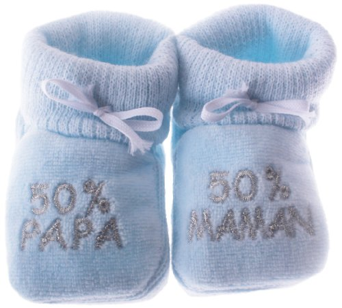 chaussons-bebe-brodes-50papa-50maman-happy-baby-bleu-argent-0-3mois