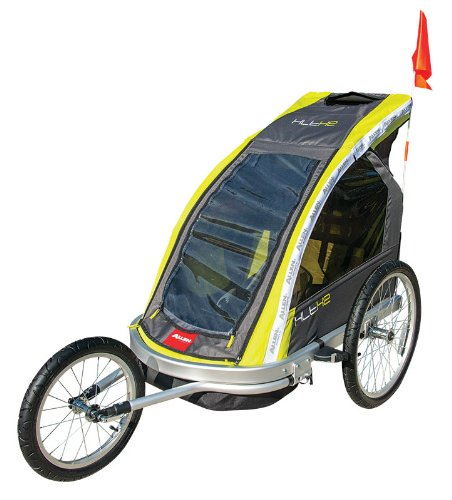 Allen Sports Premier 2-Child Aluminum Bike Trailer/Racing Stroller, Green/Grey front-497969
