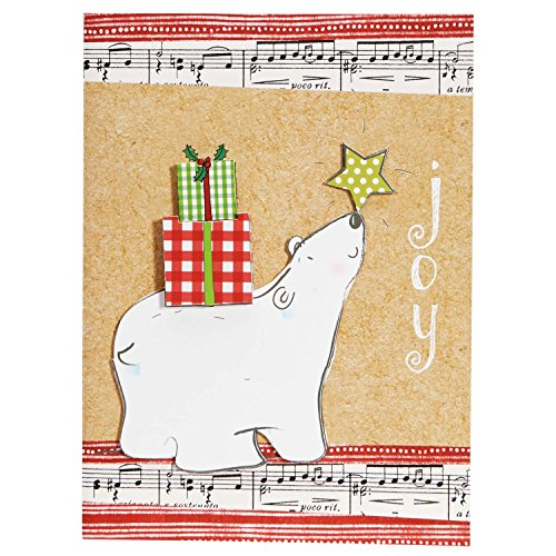 C.R. Gibson Handmade Christmas Cards, Joyful Polar Bear, 12-Count (JXB78-13536)