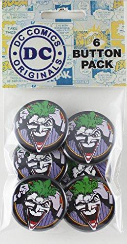 """Button set DC Comics Originals Joker 6 Individual Loose Buttons, 1.25"""""""