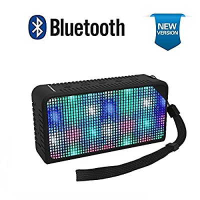 AOMAIS Portable Wireless Bluetooth Speakers with Led Lights,Portable Party speakers with 7 LED Light Visual Display Mode Build-in Mic, Powerful Sound for Party,Outdoor,Ipad,Ipod,Iphone(Black)