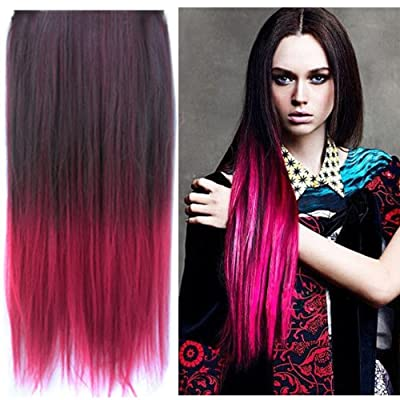 Uniwigs Ombre Dip-dye Color Clip in Hair Extension 60cm Length Black to Red Straight for Fashion Women Tbe0023