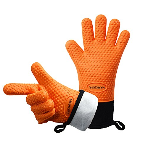 Discover Bargain GEEKHOM Grilling Gloves, Heat Resistant Gloves BBQ Kitchen Silicone Oven Mitts, Lon...