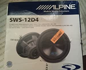 "Alpine Type-S SWS-12D4 12"" Inch 1500 Watt Subwoofer WIth Massive Dual 4-Ohm Voice Coils, Fourth-Generation, More Bass In Less Space"