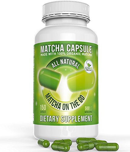 Organic Matcha Green Tea Capsule - Powerful antioxidant and energy booster- Japanese (150 easy-to-swallow capsules) (Kiss Me Organics compare prices)