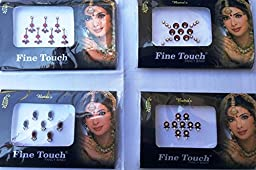Lightahead Good Quality 4 PACK MAROON BOLLYWOOD HEAD BINDI TATTOO INDIAN ART RHINESTONE STICKON REUSEABLE
