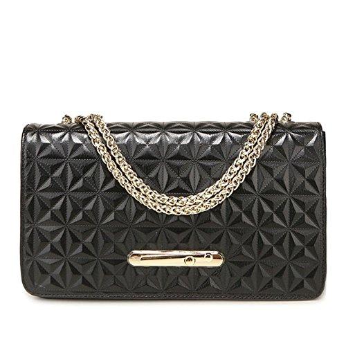 Fashion Geniune Leather Clutch Cross-Body Shoulder Handbag 010760 (Black)