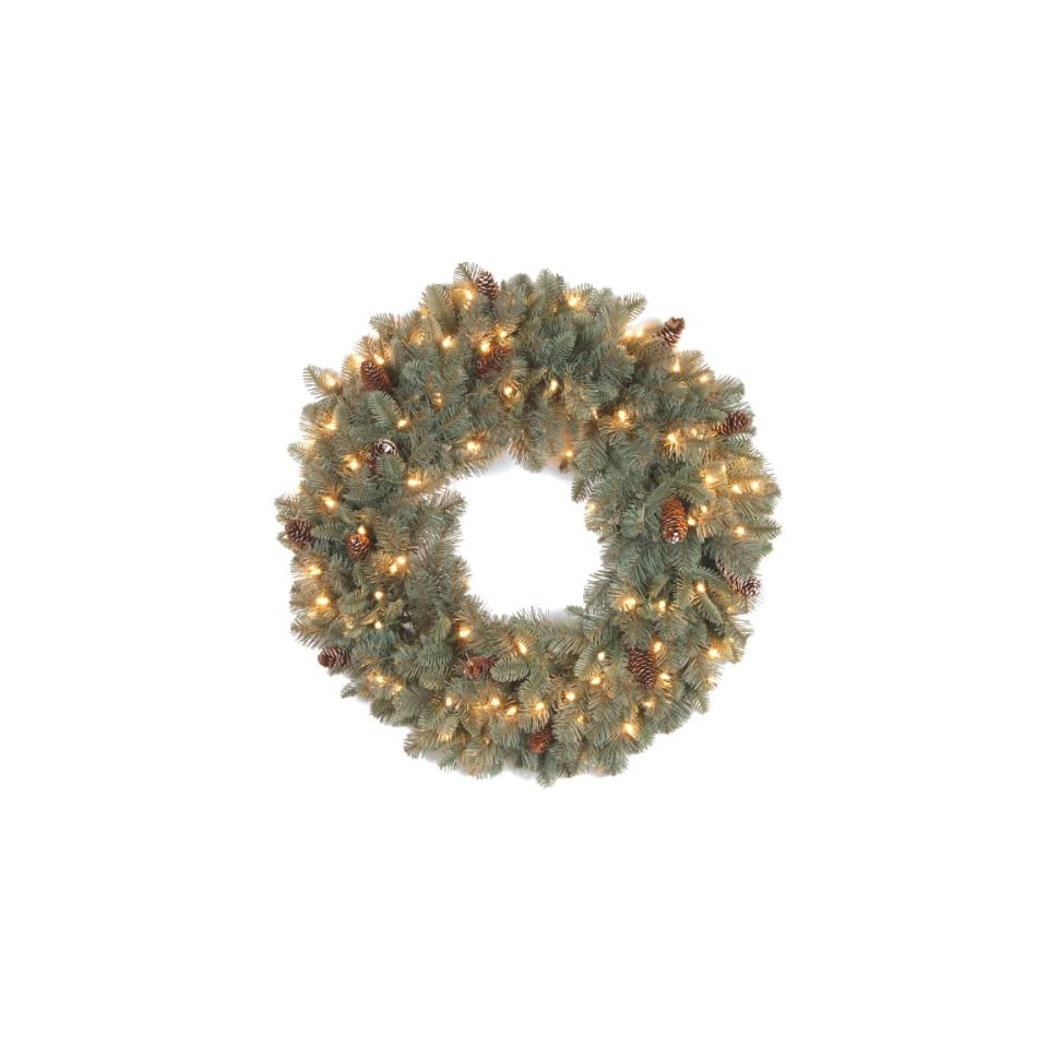 National Tree 24 Inch Feel Real Oakridge Blue Wreath with 50 Clear Lights