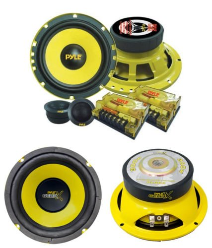 "New Car Audio Set Of 2 Pyle 2 Way 400 Watt 6.5"" Subwoofer & Component Speakers"