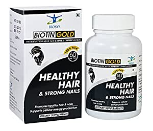 Biosys 100% Natural Biotin 5000 Mcg Capsules; For Hair, Skin & Nails; Zero Animal Fat, Gluten Free & Gmo Free & 11 Essential Ingredients Including Kelp & Inositol