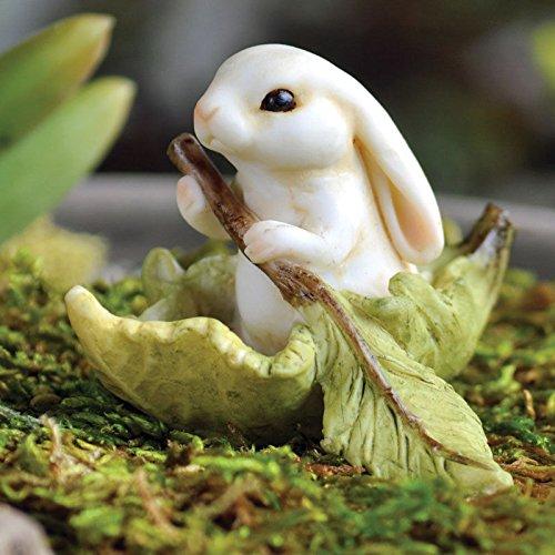 Miniature Dollhouse FAIRY GARDEN ~ Bunny Leaf Boat ~ NEW (Lexi Bunny)