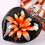 30x30mm INLAID LAMPWORK GLASS RED GIFT FLOWER PENDANT 1PCS [WITH FREE NECKLACE