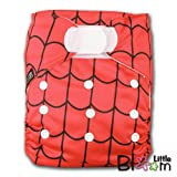 LittleBloom, Reusable Pocket Cloth Nappy, Fastener: Velcro, Set of 1, Pattern 12, With 2 Bamboo Inserts, Spider Web