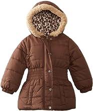 Pink Platinum Girls Solid Cheetah Hooded Puffer Jacket